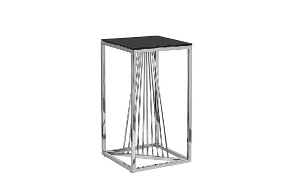 Столик журнальный высокий черное стекло/серебро 13RXET8082L-SILVER купить в салоне-студии мебели Барселона mnogospalen.ru много спален мебель Италии классические современные